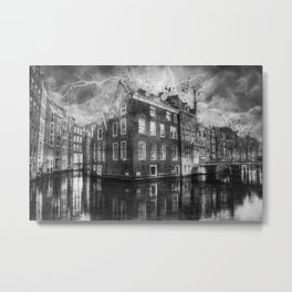 reflection canal water street Metal Print