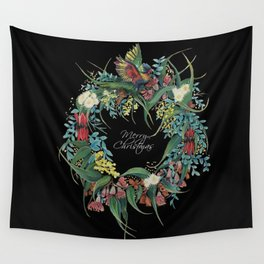 An Aussie Christmas BLACK Wall Tapestry
