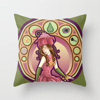 digimon Throw Pillows featuring Digimon Cards: Mimi by Dralamy