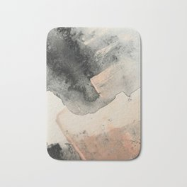 Peace and Quiet [2]: a pretty, minimal abstract piece in gray and peach by Alyssa Hamilton Art Bath Mat