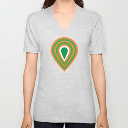 retro sixties inspired fan pattern in green and orange Unisex V-Neck