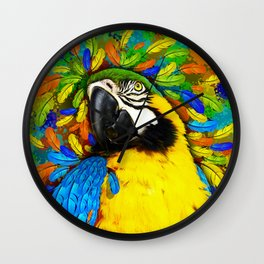 Gold and Blue Macaw Parrot Fantasy Wall Clock