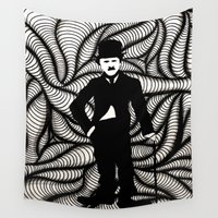 charlie Wall Tapestries featuring Charlie Chaplin by Gabrielle Wall