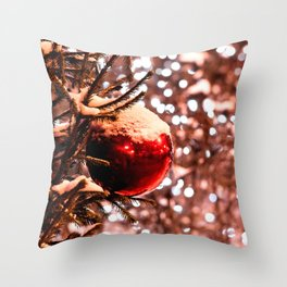 Red Ball, White Lights, Snow Throw Pillow