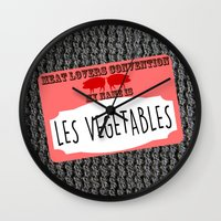 vegetables Wall Clocks featuring Les Vegetables by Kramcox
