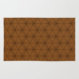 Brown wood texture geometric cubes and stars Rug