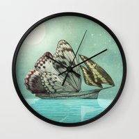 voyage Wall Clocks featuring The Voyage by Eric Fan