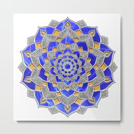 Maize & Blue Geometrical Mandala Flower Metal Print