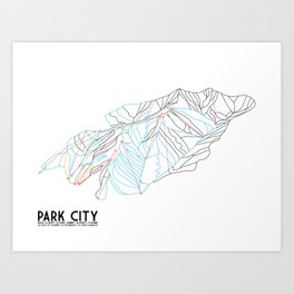 Park City, UT - Minimalist Trail Art Art Print