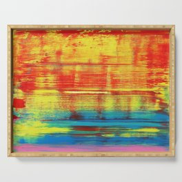 Sunny Sunset, Colorful Abstract Art Serving Tray