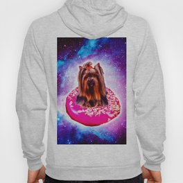 Outer Space Galaxy Dog Riding Doughnut Hoody