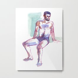 ED, Semi-Nude Male by Frank-Joseph Metal Print