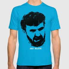Just Believe - a random t-shirt with my boyfriend's face Teal Mens Fitted Tee MEDIUM