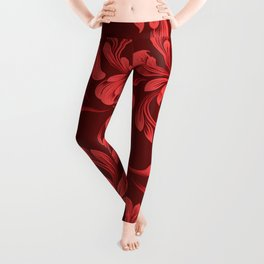 Monochrome Red Garland - Vintage Inspired Holiday Pattern Leggings