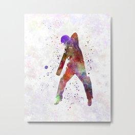 Cricket player batsman silhouette 02 Metal Print