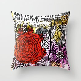 messy floral Throw Pillow