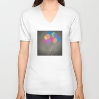 baloon V-neck T-shirts featuring Up up and away by Skye Zambrana
