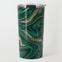 Emerald Green Black Gold Glitter Marble #1 #decor #art #society6 Travel Mug