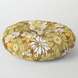 70s Retro Flower Power boho pattern Floor Pillow