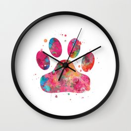 Colorful Paw Wall Clock
