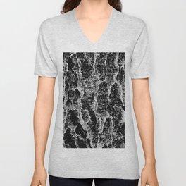 Lava cascade in black and white Unisex V-Neck
