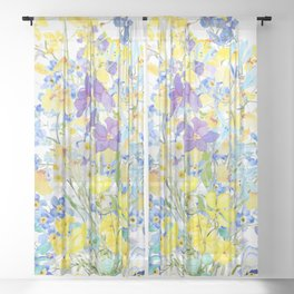 purple blue and yellow flowers bouquet watercolor   Sheer Curtain
