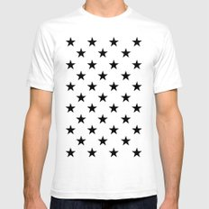 Stars (Black/White) White Mens Fitted Tee SMALL