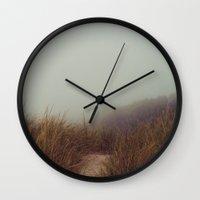 fog Wall Clocks featuring fog by elle moss