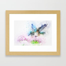 kingfisher Bird Animal Flowers Framed Art Print