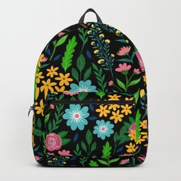 Pretty Blue Pink Garden Flowers Black Design Backpack