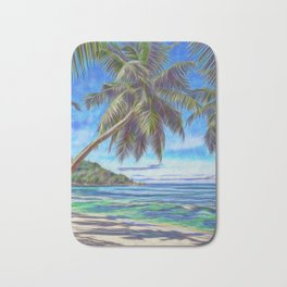 Tropical island beach Bath Mat