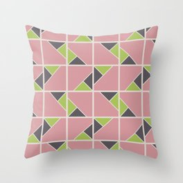 Retro Geometry surface pattern (Pink-green) Throw Pillow