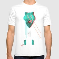 Wolf With F**king lasers White Mens Fitted Tee MEDIUM