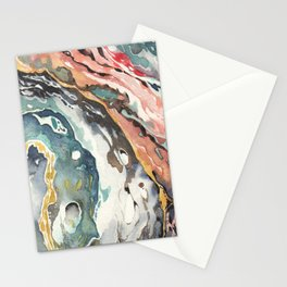 Abstract Circular Geode Watercolor Stationery Cards
