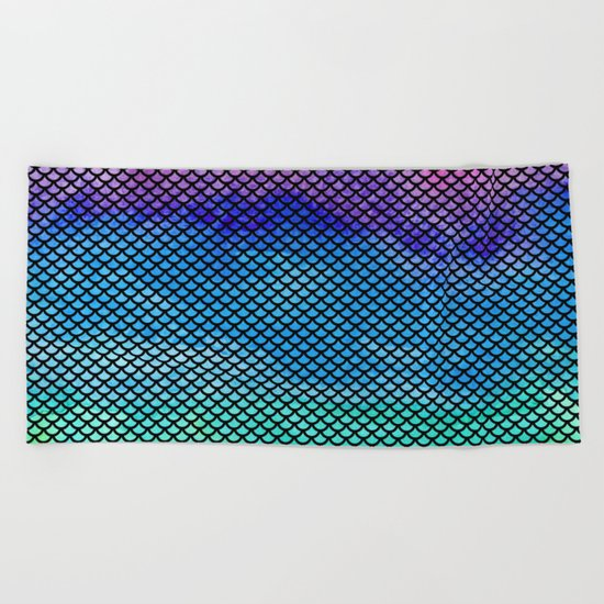 Rainbow Mermaid Tail Beach Towel