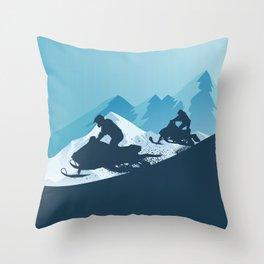 Snowmobile • Winter Sport Throw Pillow