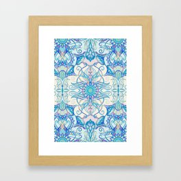 Teal Blue, Pearl & Pink Floral Pattern Framed Art Print