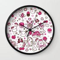 kawaii Wall Clocks featuring Kawaii Friends by Gina Mayes