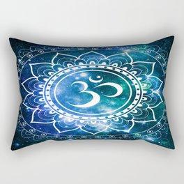 Om Mandala : Blue Green Galaxy Rectangular Pillow