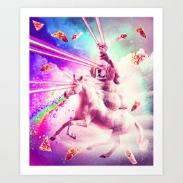Laser Eyes Space Cat Riding Dog, Unicorn - Rainbow Art Print