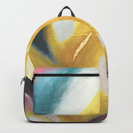 Ambition: a colorful abstract piece in bold yellow, blue, pink, red, and gold Backpack