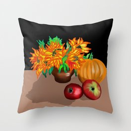 still life with pumpkin on black background Throw Pillow