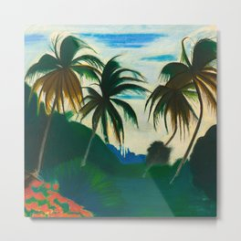 Tropical Scene with Palms and Flowers by Joseph Stella Metal Print