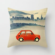 Red Polski Fiat  Throw Pillow