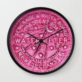New Orleans Water Meter Louisiana Crescent City NOLA Water Board Metalwork Magenta Wall Clock