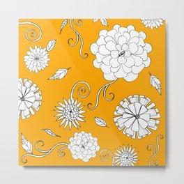 Sunny Crazy Daisy pattern Metal Print