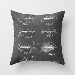Fly Fishing Patent - Fisherman Art - Black Chalkboard Throw Pillow