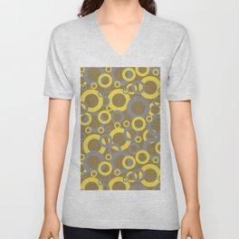 Gray Yellow Brown Funky Ring Pattern V9 2021 Color of the Year and Accent Shades Unisex V-Neck