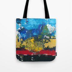 Lucas Abstract Painting Blue Black Yellow Tote Bag
