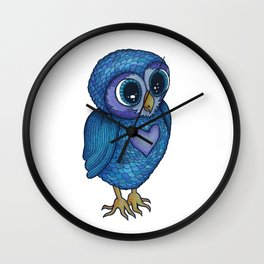 Patchwork Feather Owl Wall Clock